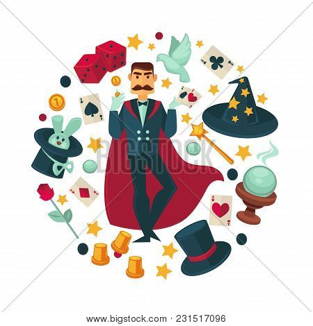 Magician In Red Cloak Surrounded With Equipment For Tricks. Rabbit In Hat, White Dove, Magic Wand, P