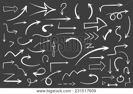 55 Hand Drawn White Arrows On Black Background, Doodle Arrows, Vector Eps10 Illustration
