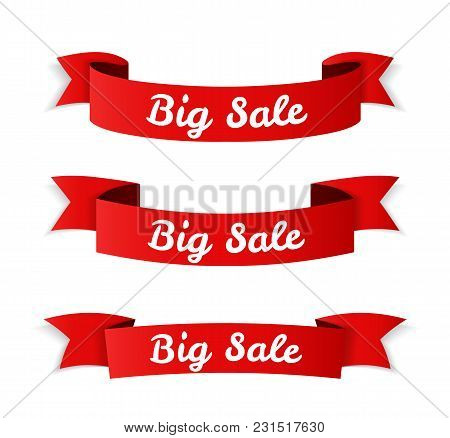 Red Big Sale Banners On White Background, Vector Eps10 Illustration