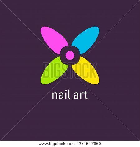 Manicure salon. Art nails, colored, colorful nail polish, logo, icon manicurist Vector illustration poster