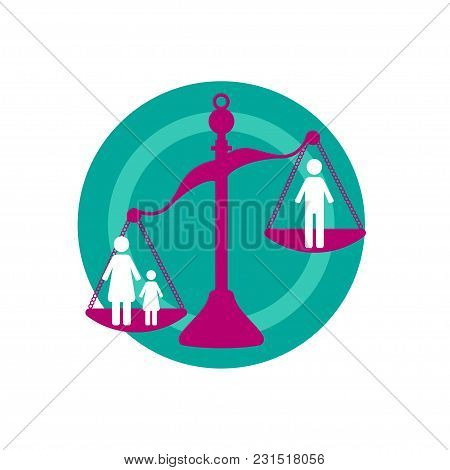 Divorce. Scales Are Tipped In Favor Of Woman With Child, Child Support. Vector Illustration.