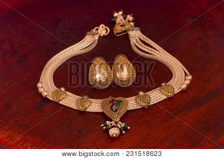 Close View Of Silver Necklace And Earrings Set, Pune