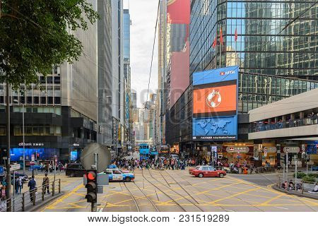 Hong Kong - November 26, 2017: Trams On The Central Street Of Hong Kong