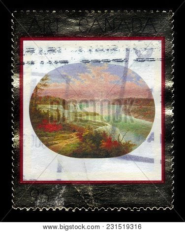 Canada - Circa 2000: A Stamp Printed In Canada Shows Niagara, 1858, Painting By Dutch-canadian Paint