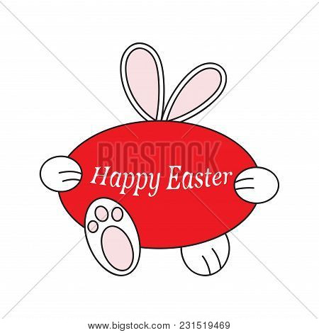 Easter Bunny Carries A Red Egg. For Decor, Postcards. Vektor Illustration