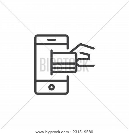 Hand Holding Mobile Phone With Credit Card On The Touchscreen Outline Icon. Linear Style Sign For Mo