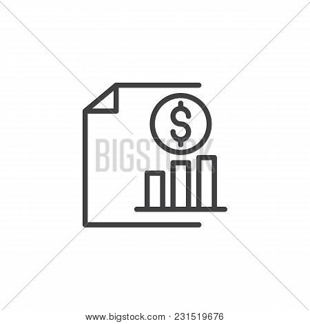 Dollar Coin With Growing Graph Outline Icon. Linear Style Sign For Mobile Concept And Web Design. Sa