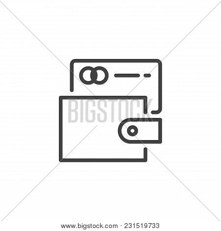 Wallet With Credit Card Outline Icon. Linear Style Sign For Mobile Concept And Web Design. Payment M