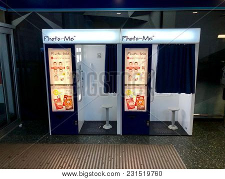 LONDON - MARCH 15, 2018: Photo booths inside Euston train station in London, UK.