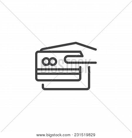 Hand Hold Credit Card Outline Icon. Linear Style Sign For Mobile Concept And Web Design. Payment Met