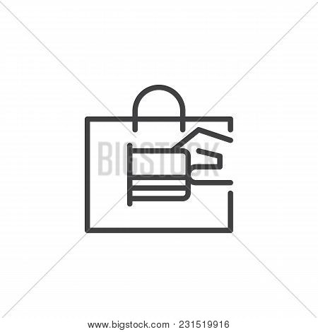 Hand With Shopping Bag And Credit Card Outline Icon. Linear Style Sign For Mobile Concept And Web De