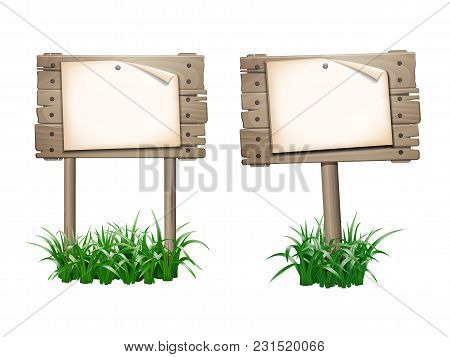 Announcement, Empty Paper Blank On Wooden Signboard In Grass. 10eps Vector Illustration Isolated On