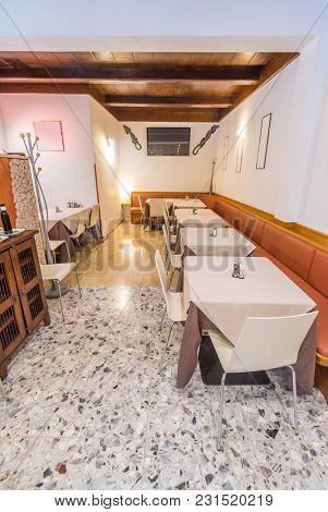 Restaurant interior. Small restaurant in Italy.