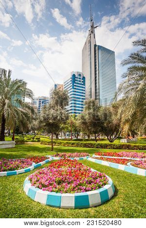 A Park In The Middle Of Of Abu Dhabi City, The Capital Of The United Arab Emirates.