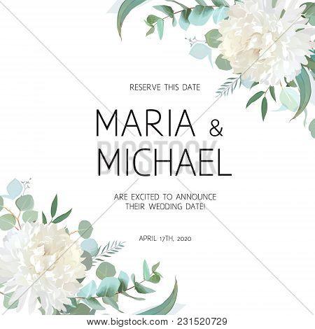 Wedding Eucalyptus And White Chrysanthemum Flowers Vector Design Frame. Rustic Greenery. Mint, Blue