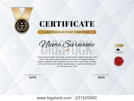Official White Certificate Of Appreciation Award Template With Black Badge, Wafer. Triangle Backgrou