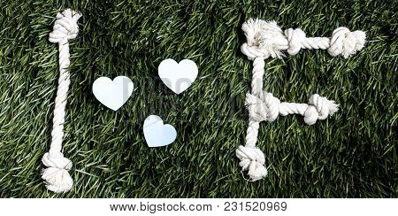 I And F Letters And Three Paper Heart Cut Outs On Grass