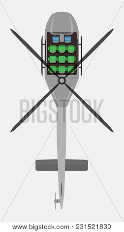 Top View Show Seat Map Of Passenger Helicopter Vector