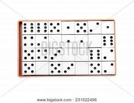 Box With Domino Pieces Isolated On White. Top View.