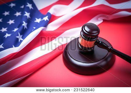Law Gavel And Usa America Flag - American Crime Concept