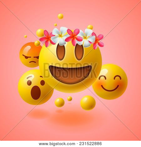 Realistic Yellow Emoticons With Flower On Head, Summer Concept, Emoji With Wreath Flowers On Head, V