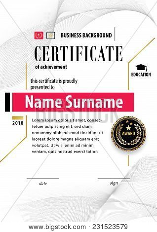 Official White Certificate Of Appreciation Award Template With Black Badge, Wafer. Guilloshe Design
