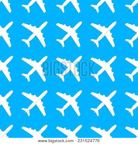Plane Pattern. Seamless Airplane Texture. Planes In The Sky. Vector Illustration.