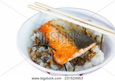 Delicious Grilled Salmon On Rice.  Japanese Food