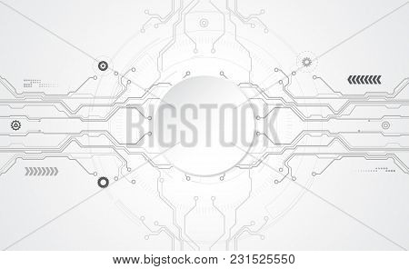 Abstract Technological Background Concept With Various Technology Elements. Vector Tech Circle And T