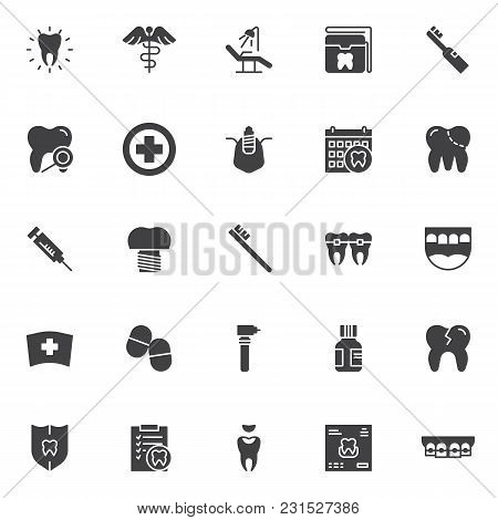 Dental Vector Icons Set, Modern Solid Symbol Collection, Filled Style Pictogram Pack. Signs, Logo Il