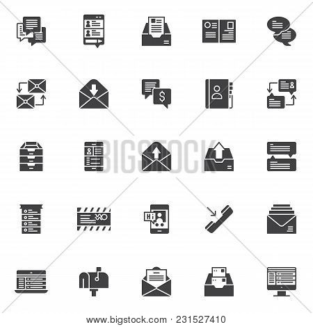 Dialogue Messages Vector Icons Set, Modern Solid Symbol Collection, Filled Style Pictogram Pack. Sig