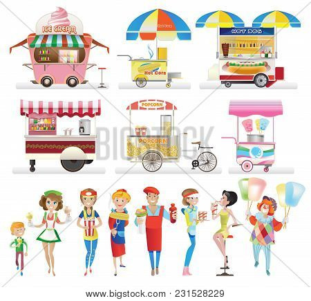 Set Of Street Food. Trade Counters, Trolleys, Stalls Under A Canopy, Selling Ice Cream, Drinks, Corn