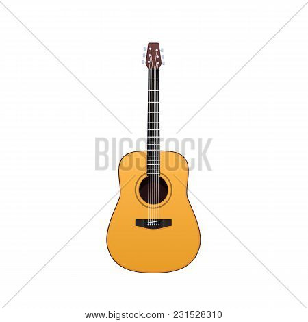 Wooden Guitar, Traditional String Musical Instrument. Holiday, Music On Acoustic Guitar. Carnival, M