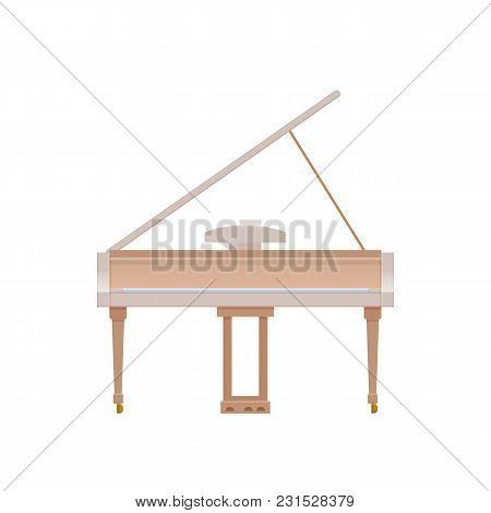Modern Musical Instrument Piano, Accordion. Classic Pianino, Harmonious Sound. Realistic Keyboard Wo