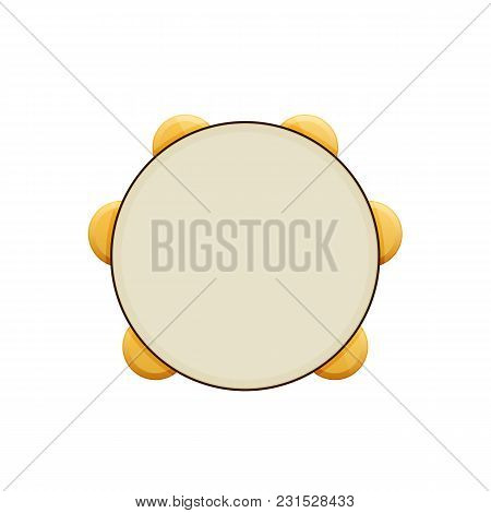 Wooden Musical Percussion Instrument. Tambourine With Metal Plates. Musical Tambourine With Melodic