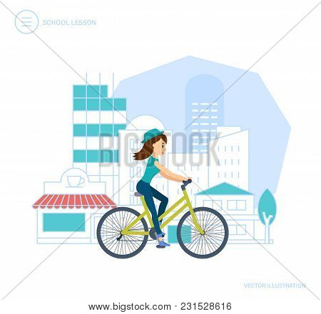 Trips Around City By Bike. Active Way Life, Trip, Travel, Entertainment Outside House On Streets Of