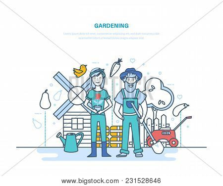 Gardening. Farmers Among Plants, Plantations, Organic Clean Ecological Products. Garden Tools, Produ