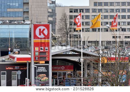 Vilnius, Lithuania - April 15, 2018: Circle K Gas Station In Vilnius On April 15, 2018. Vilnius Is T