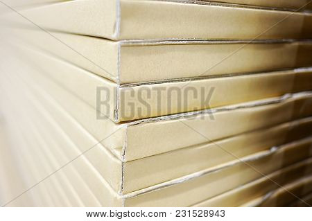 A Pack Of Recycle Brown Papers With Warm Light For Background Texture