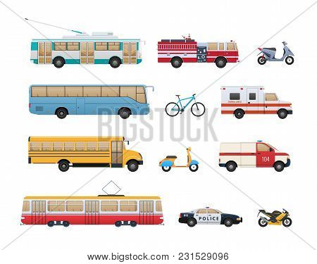 Set Of Urban Transport. City Cars, Vehicles Transport Trolleybus, Fire Service, Scooter, Bus, Bicycl