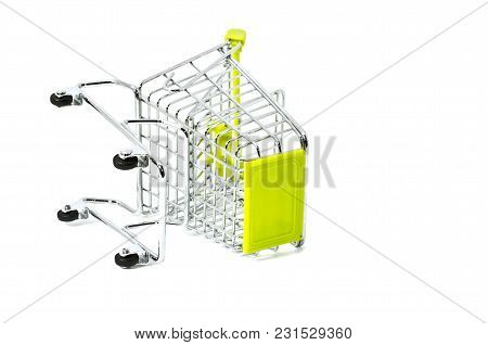Falling Down Shopping Trolley, Isolated On White Background