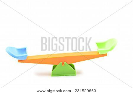 Image Of Balance Position Seesaw Isolated White Background