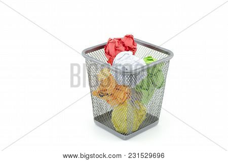 Colorful Used And Crumple Paper On Thrash Can. Isolated White Background