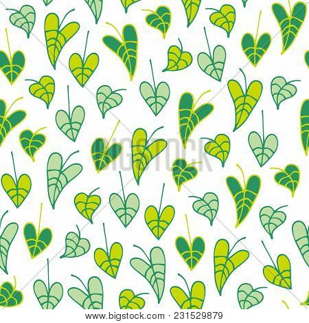 Floral Seamless Pattern With Hand Drawn Leaves On White Background. Vector Illustration For Design A