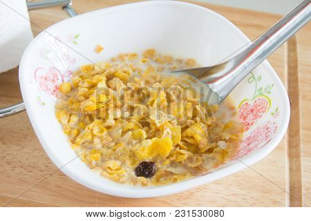 Close Up Of Breakfast Cereal On Table