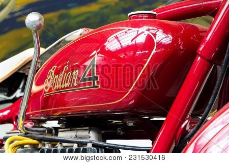 Prague, Czech Republic - March 8 2018: American Motorcycle Indian Four From Year 1931 Stands On Marc
