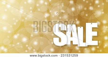 White Colored Hang Tags Sale On Golden Background