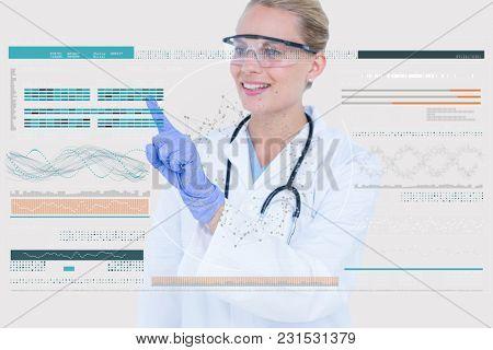 Digital composite of doctor interacting