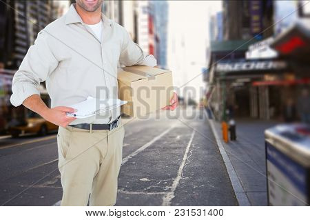 Digital composite of delivery man in city