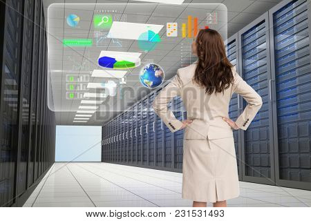 Digital composite of data center with model